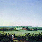 view around Moscow with the manor and two female figures . 1850, Alexey Kondratievich Savrasov