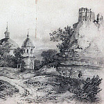Alexey Kondratievich Savrasov - Landscape with Church and the ruins. 1861
