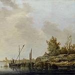 A River Scene with Distant Windmills, Aelbert Cuyp