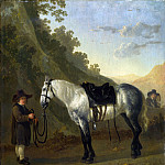 Abraham van Calraet – A Boy holding a Grey Horse , Part 1 National Gallery UK