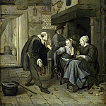 After Jan Steen – An Itinerant Musician saluting Two Women in a Kitchen, Part 1 National Gallery UK