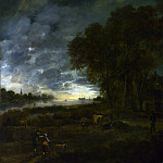Aert van der Neer – A Landscape with a River at Evening, Part 1 National Gallery UK