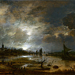 Aert van der Neer – A River near a Town, by Moonlight, Part 1 National Gallery UK