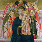 After Benozzo Gozzoli – The Virgin and Child Enthroned with Angels, Part 1 National Gallery UK