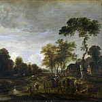 Aert van der Neer – An Evening Landscape with a Horse and Cart by a Stream, Part 1 National Gallery UK