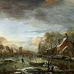 Aert van der Neer – A Frozen River by a Town at Evening, Part 1 National Gallery UK
