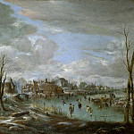 Aert van der Neer – A Frozen River near a Village, with Golfers and Skaters, Part 1 National Gallery UK