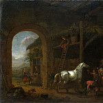 Abraham van Calraet – The Interior of a Stable, Part 1 National Gallery UK