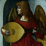 Associate of Leonardo da Vinci – An Angel in Red with a Lute, Part 1 National Gallery UK