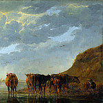 A Herdsman with Five Cows by a River, Aelbert Cuyp