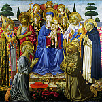 Benozzo Gozzoli – The Virgin and Child Enthroned among Angels and Saints, Part 1 National Gallery UK