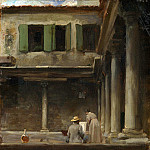 An Artist Sketching in the Cloister of S. Gregorio, Venice – Lord Leighton Frederic, Part 1 National Gallery UK