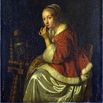 Caspar Netscher – A Lady at a Spinning-wheel, Part 1 National Gallery UK