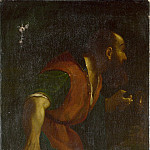 After Guercino – A Bearded Man holding a Lamp, Part 1 National Gallery UK