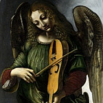 Associate of Leonardo da Vinci – An Angel in Green with a Vielle, Part 1 National Gallery UK