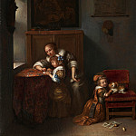Part 1 National Gallery UK - Caspar Netscher - A Lady teaching a Child to Read
