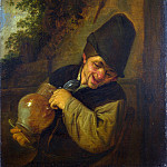 Adriaen van Ostade – A Peasant holding a Jug and a Pipe, Part 1 National Gallery UK