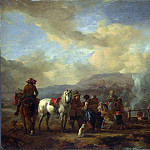 Philips Wouwermans – Two Horsemen at a Gipsy Encampment, Part 5 National Gallery UK