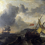 Ludolf Bakhuizen – An English Vessel and a Man-of-war in a Rough Sea, Part 5 National Gallery UK