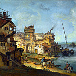 Buildings and Figures near a River with Shipping, Michele Marieschi