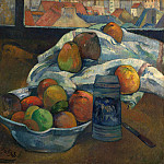 Bowl of Fruit and Tankard before a Window, Paul Gauguin