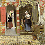 The Courtyard of a House in Delft, Pieter de Hooch