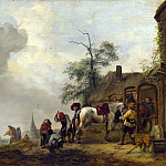 Philips Wouwermans – A Horse being Shod outside a Village Smithy, Part 5 National Gallery UK