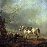 Philips Wouwermans – A White Horse, and an Old Man binding Faggots, Part 5 National Gallery UK
