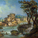 Buildings and Figures near a River with Rapids, Michele Marieschi