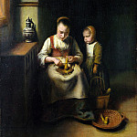 Nicolaes Maes – A Woman scraping Parsnips, with a Child standing by her, Part 5 National Gallery UK