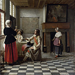 A Woman Drinking with Two Men, Pieter de Hooch