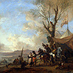 Philips Wouwermans – Cavalrymen halted at a Sutlers Booth, Part 5 National Gallery UK