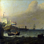 Ludolf Bakhuizen – Dutch Men-of-war entering a Mediterranean Port, Part 5 National Gallery UK