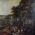 Lucas van Uden and David Teniers the Younger – Peasants merry-making before a Country House, Part 5 National Gallery UK