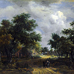 Meindert Hobbema – A Road winding past Cottages, Part 5 National Gallery UK