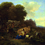 Nicolaes Berchem – A Peasant playing a Hurdy-Gurdy to a Woman and Child, Part 5 National Gallery UK