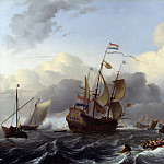 Ludolf Bakhuizen – The Eendracht and a Fleet of Dutch Men-of-war, Part 5 National Gallery UK