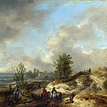 A Dune Landscape with a River and Many Figures, Philips Wouwerman