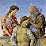 Marco Zoppo – The Dead Christ supported by Saints, Part 5 National Gallery UK