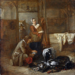A Man with Dead Birds, and Other Figures, in a Stable, Pieter de Hooch