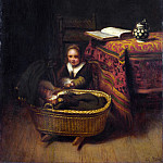 A Little Girl rocking a Cradle, Nicolaes Maes