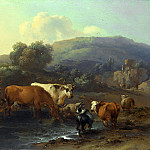 Nicolaes Berchem – Peasants with Cattle fording a Stream, Part 5 National Gallery UK