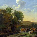 Paulus Potter – A Landscape with Cows, Sheep and Horses by a Barn, Part 5 National Gallery UK