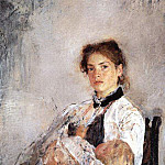 Portrait NY Derviz with the child. 1888-1889, Valentin Serov