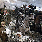 Valentin Serov - Peter II and Princess Elizabeth Petrovna Riding to Hounds. 1900
