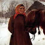 old woman with a horse. 1898, Valentin Serov