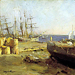 Fishing vessels in Arkhangelsk. 1894, Valentin Serov