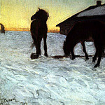 Colts at Watering. Domotkanovo. 1904, Valentin Serov