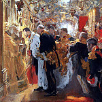 Valentin Serov - Coronation. Confirmation of Nicholas II in the Dormition Cathedral. 1896