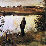 Artist Konstantin Korovin on the river bank. 1905, Valentin Serov